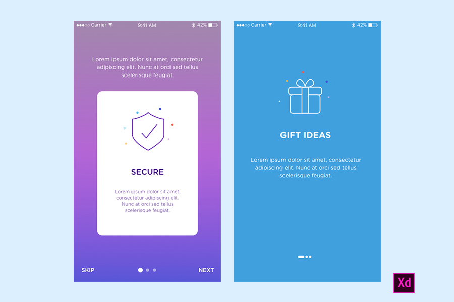 Onboarding App Screens for Mobile Apps for Adobe Xd