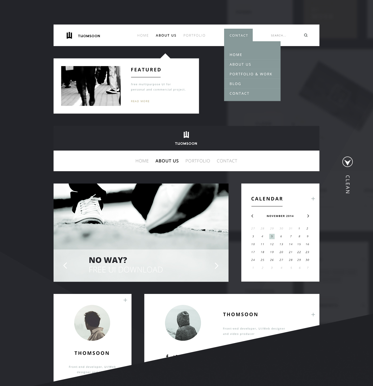 55 Elements Free UI Kit - Clean Design