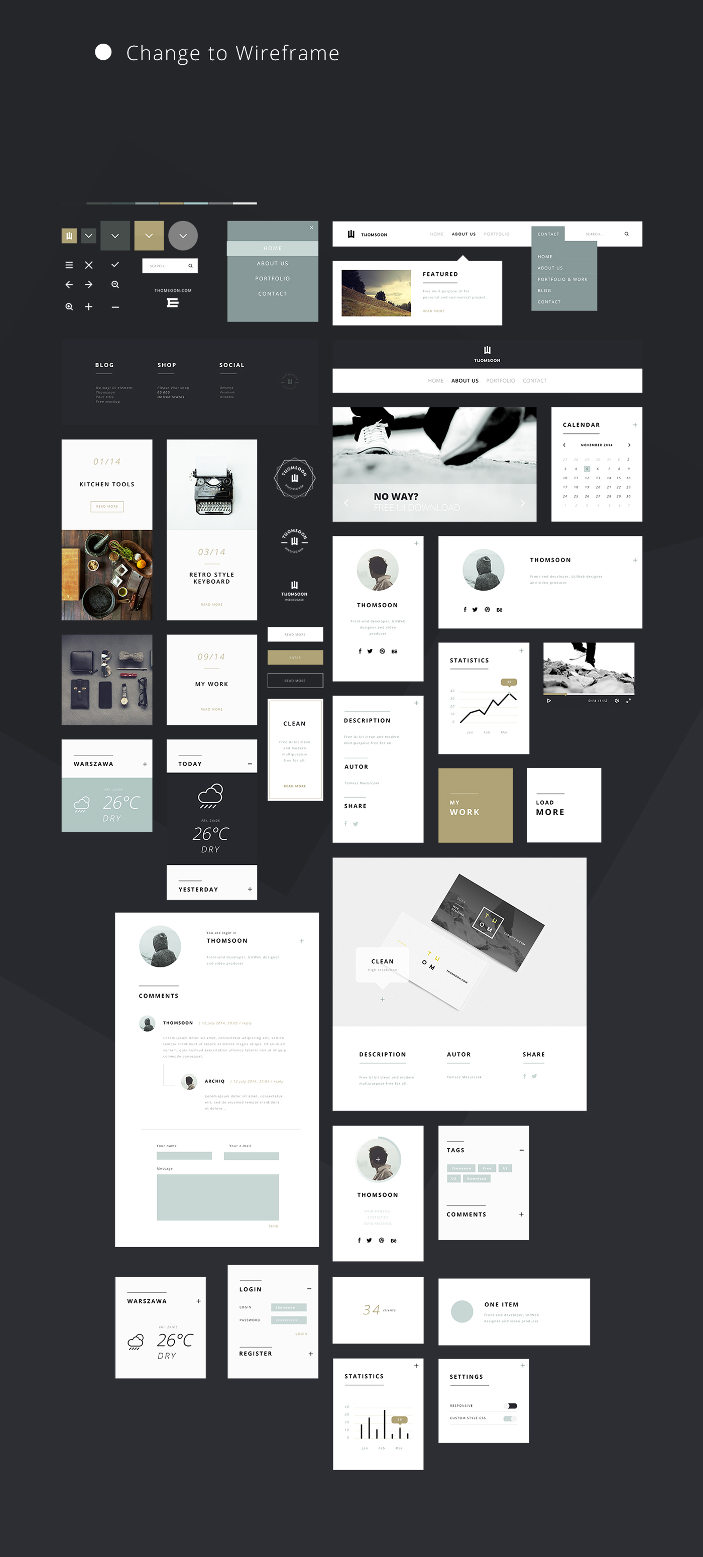 55 Elements UI Kit Changeable Wireframe