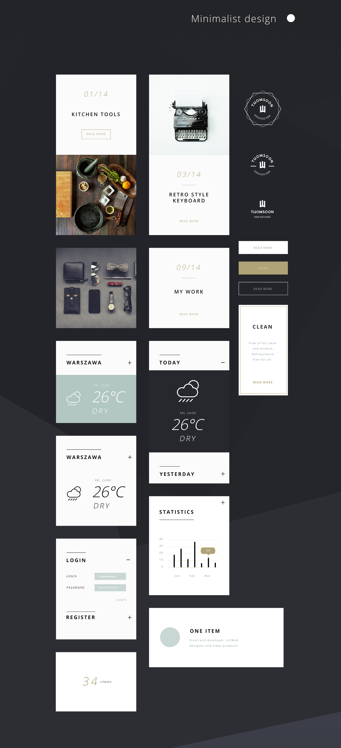 55 Elements UI Kit for Free with Minimalist Design Components