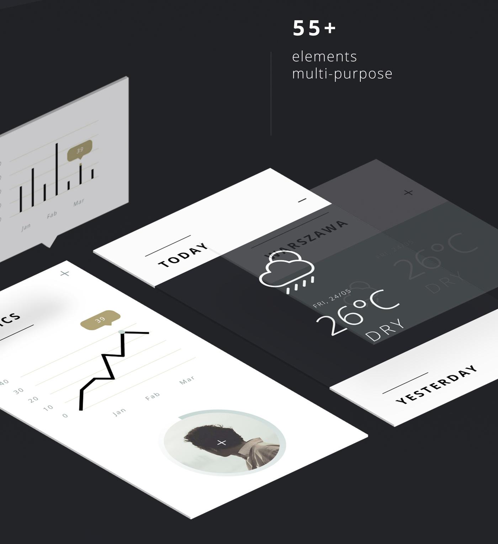 55 Multi Purpose Elements for Photoshop UI Designers