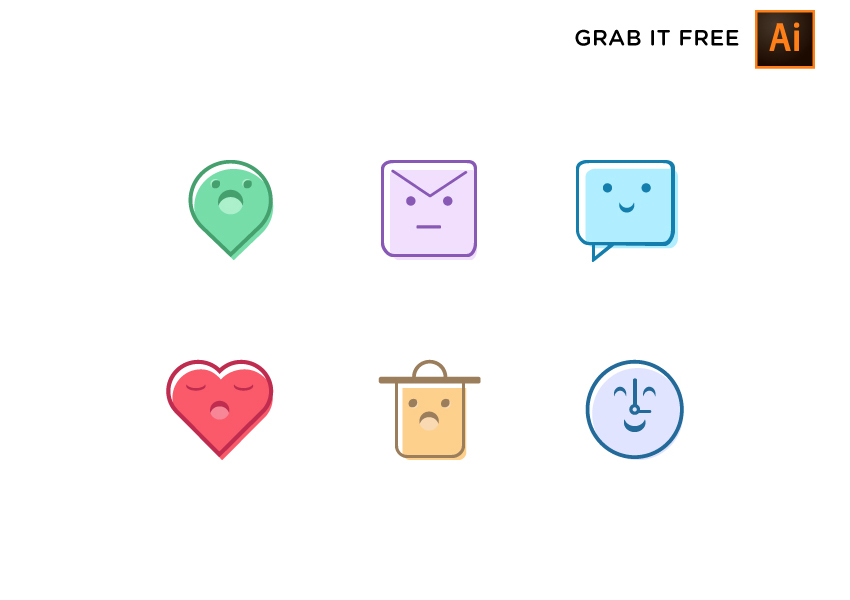 6 Cute & Sweet Free icons - Vector Iconset for AI with pastel colors