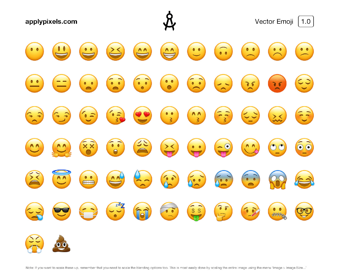 Vector Emoji Icons for Photoshop - Scalable Vector File for UI Designers