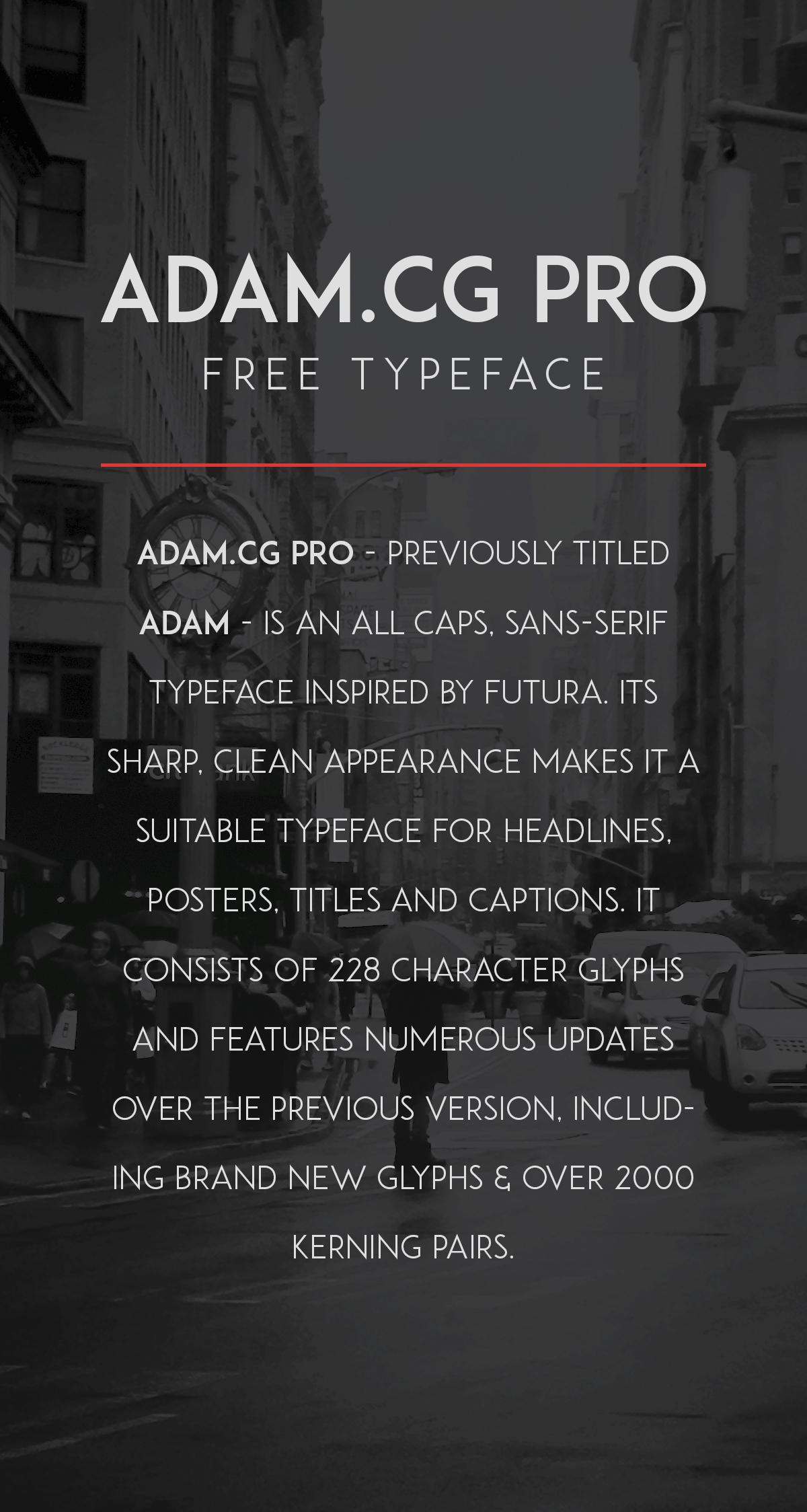 ADAM.CG PRO Free Font - Modern Font