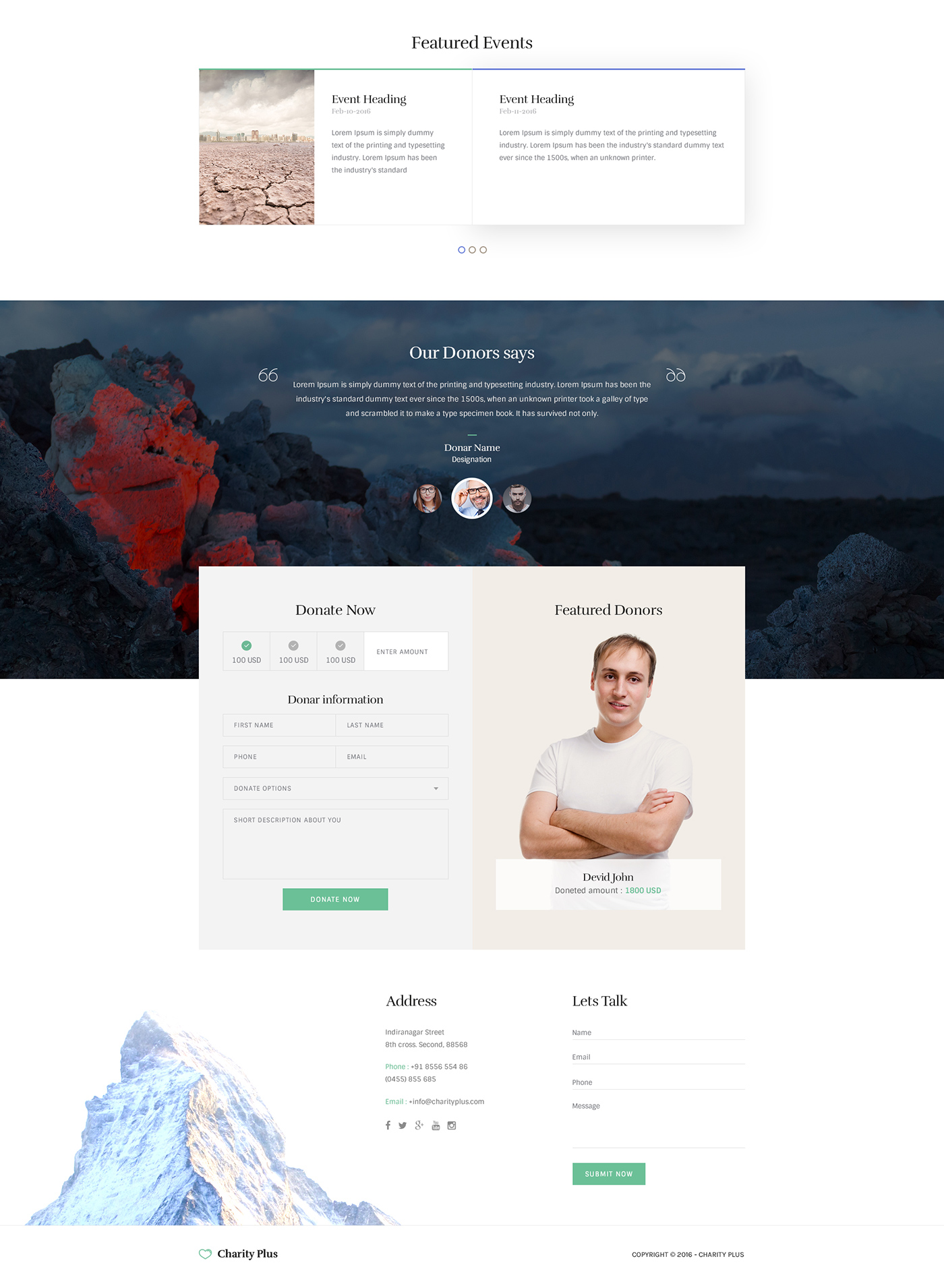Charity Free Web Template - Photoshop Elegant Theme