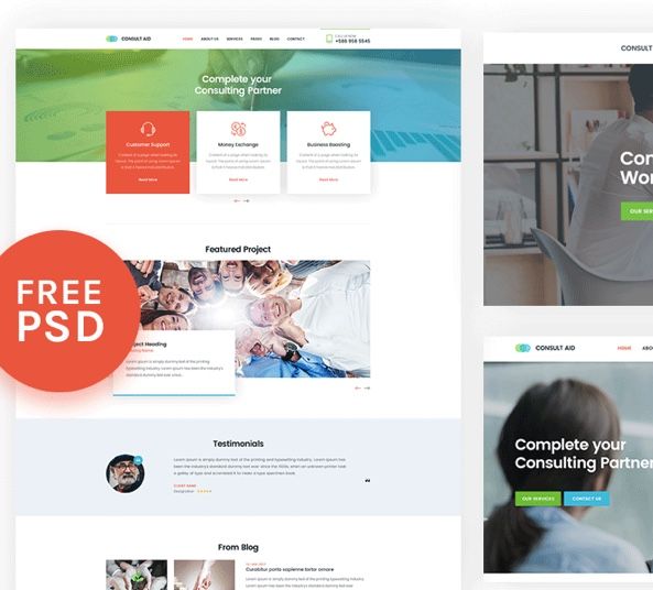 Free Made Business Website Template Psd: Business Consultancy Web Template