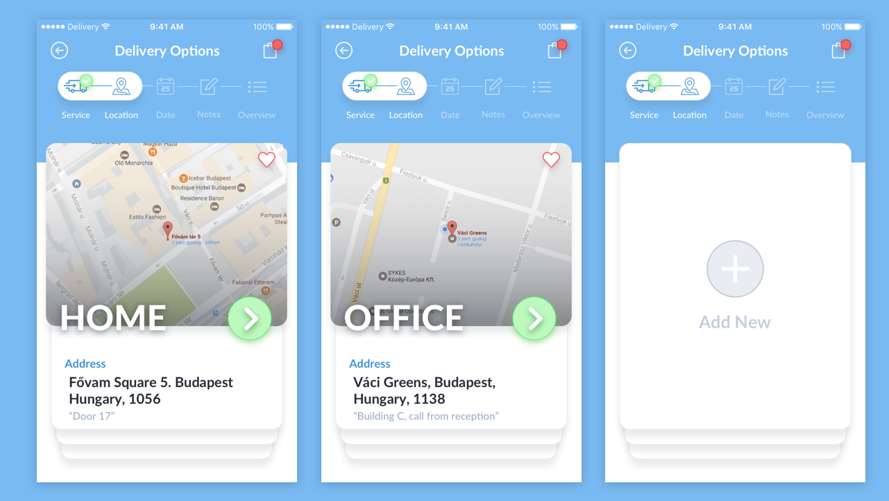 Delivery Options App Design UI Kit for Sketch Designers