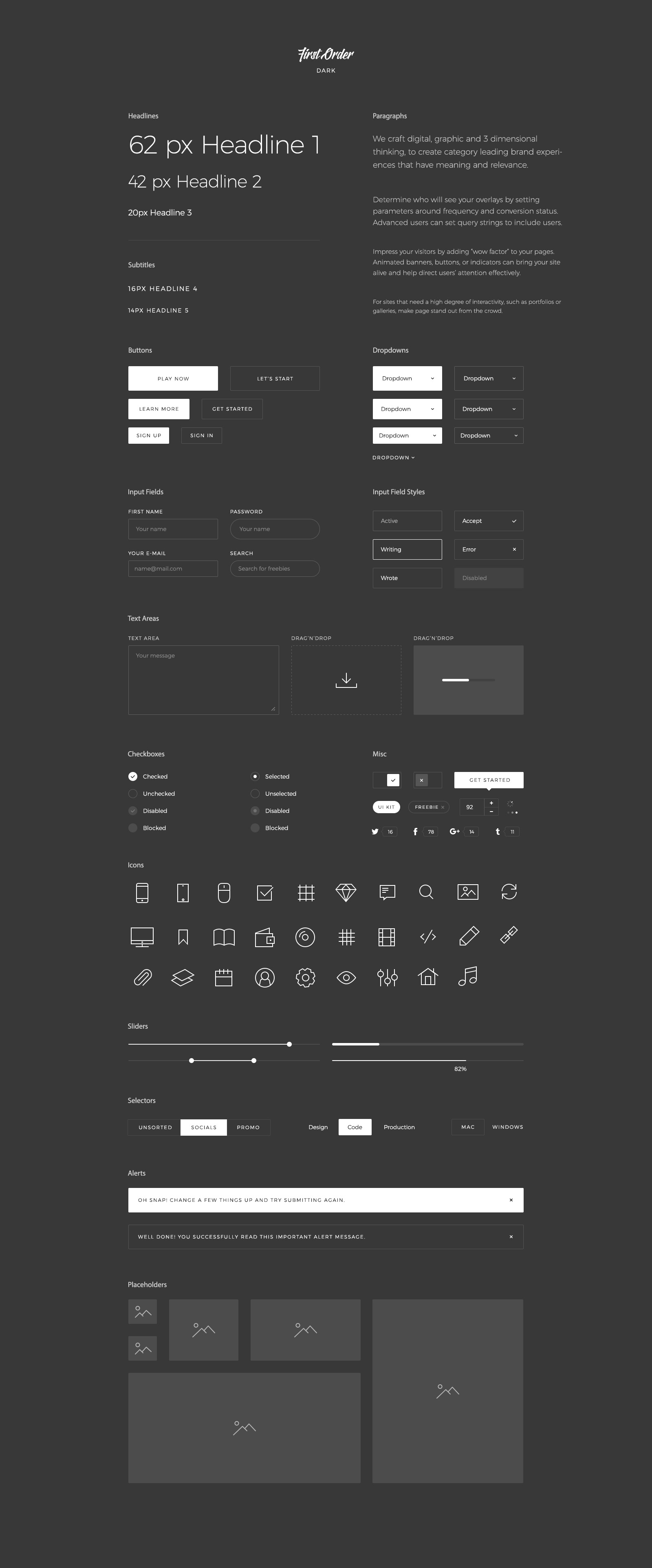 First Order Free UI Kit Dark for PSD, Sketch and Figma