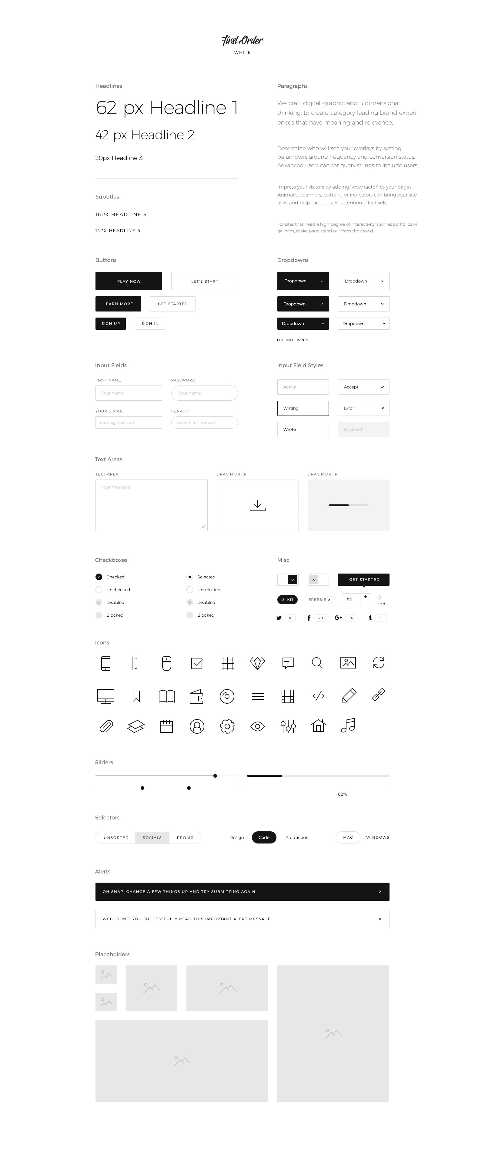First Order Free UI Kit White for PSD, Sketch and Figma