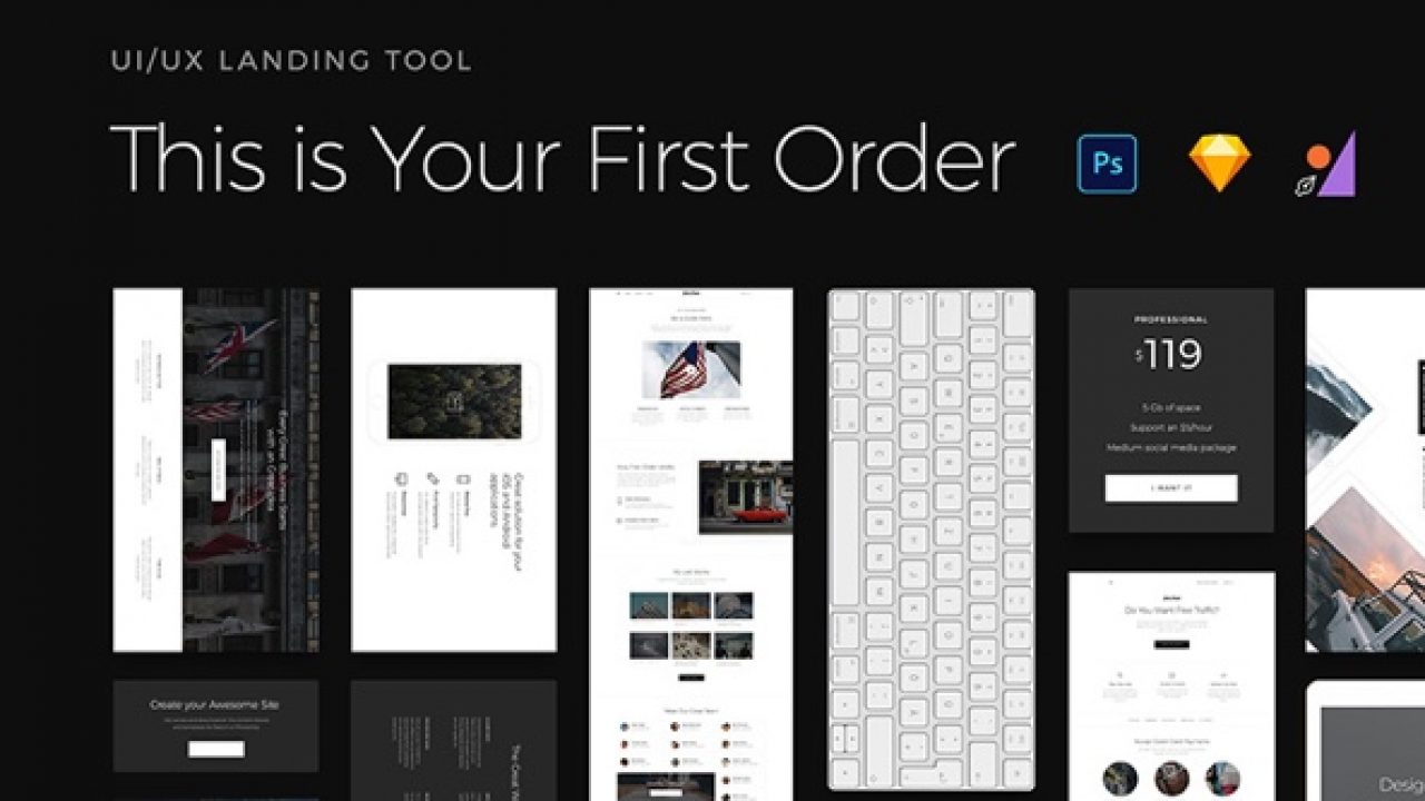 First Order Free UI Kit for Sketch, PSD and Figma - DOWNLOAD LINK