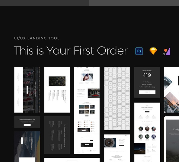 First Order Free UI Kit for Sketch, PSD and Figma - DOWNLOAD
