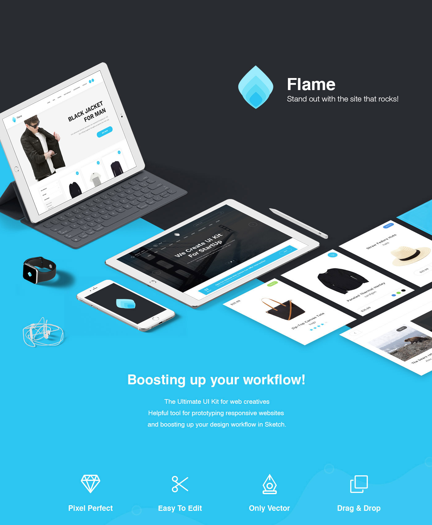 Flame Free Web UI Kit - Vector Website Design for Sketch
