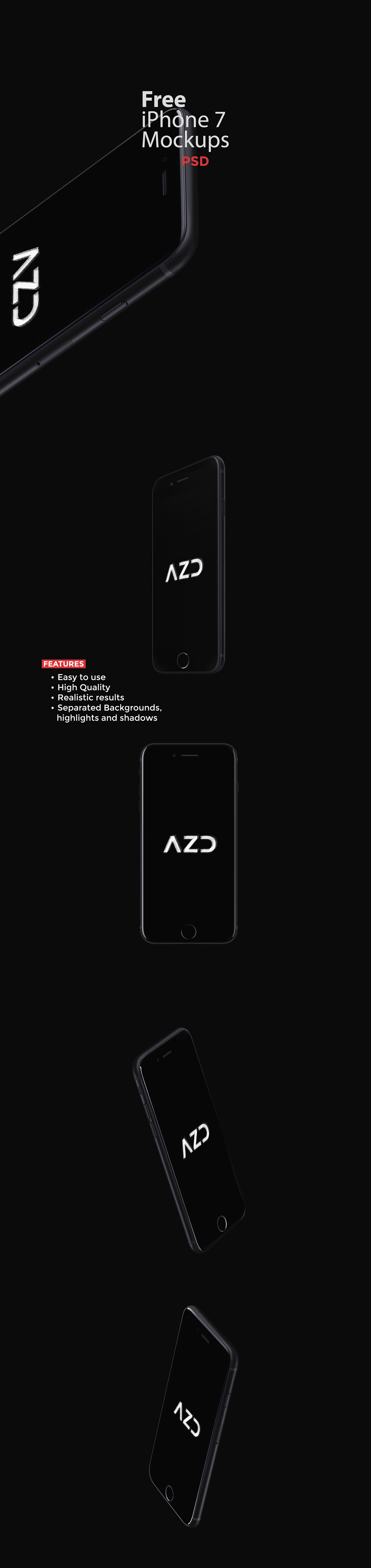 Free iPhone 7 Mockups for Photoshop Designers