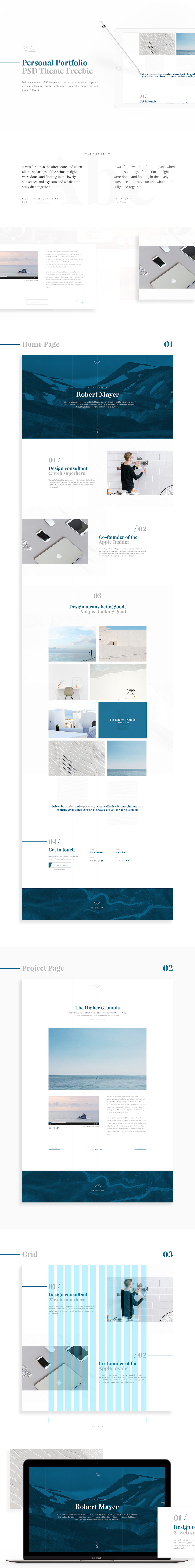 Free Personal Portfolio Theme for Photoshop UI Designers - Clean and Minimal Template