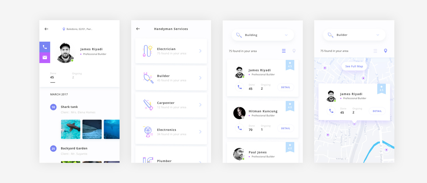 Handyman App Design UI Kit Exploration for Sketch Designers