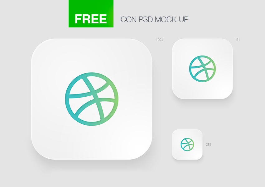 Mobile app iOS Icon Template for Photoshop Free