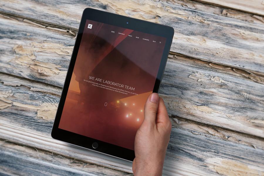 iPad Air 2 Real Mockup on Wood Freebie