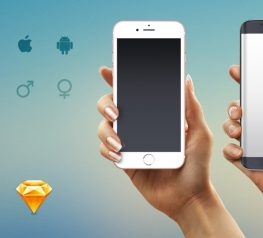 iPhone 7 & Samsung Galaxy Edge Hand Mockup Male Female - Sketch Resource for UI Designers