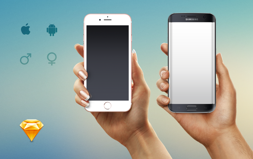 iPhone 7 & Galaxy s7 Mockup for Sketch - Download free resource - Isolated Hands