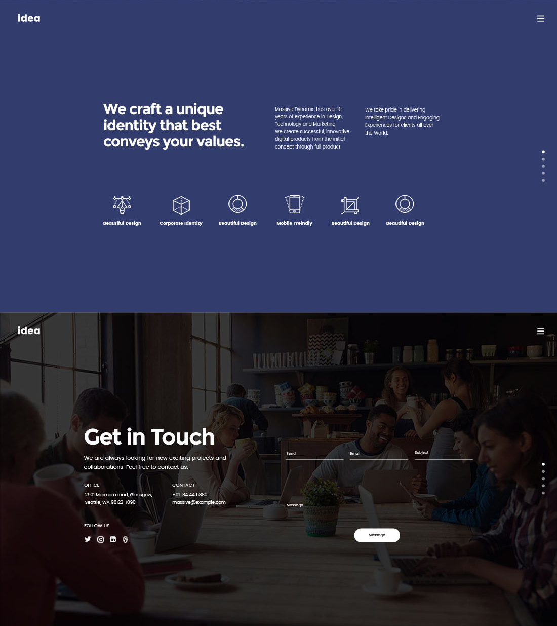 Landing Page for Creatives - Parallax Landing Page Template for PSD