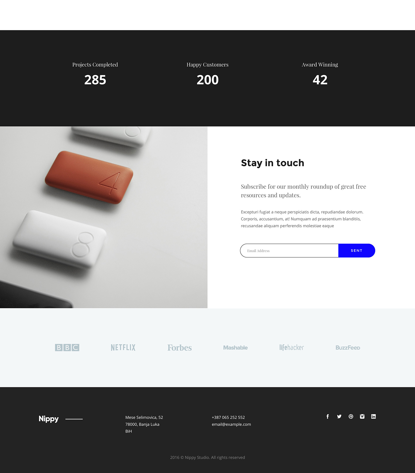 Modern landing page for XD and Sketch - Nappy