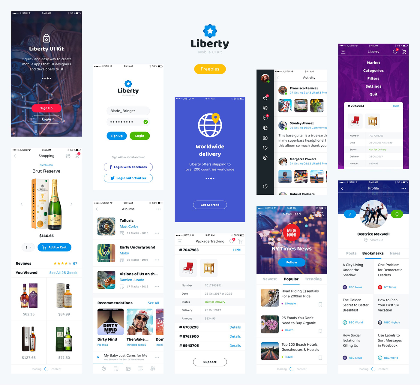 Liberty Free App Design for Sketch and Photoshop for UI designers