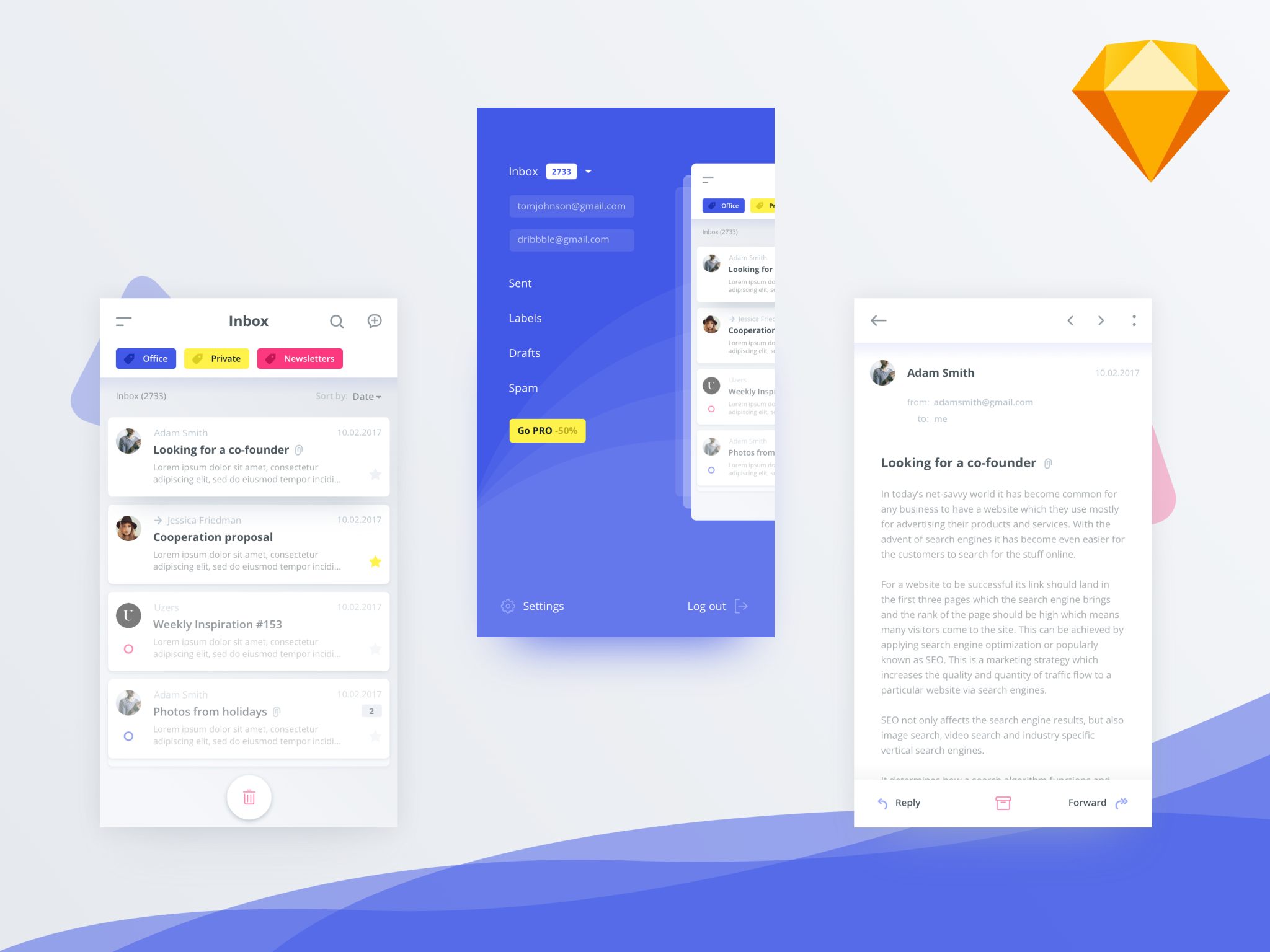 Mail Client App UI Kit for Sketch freebie