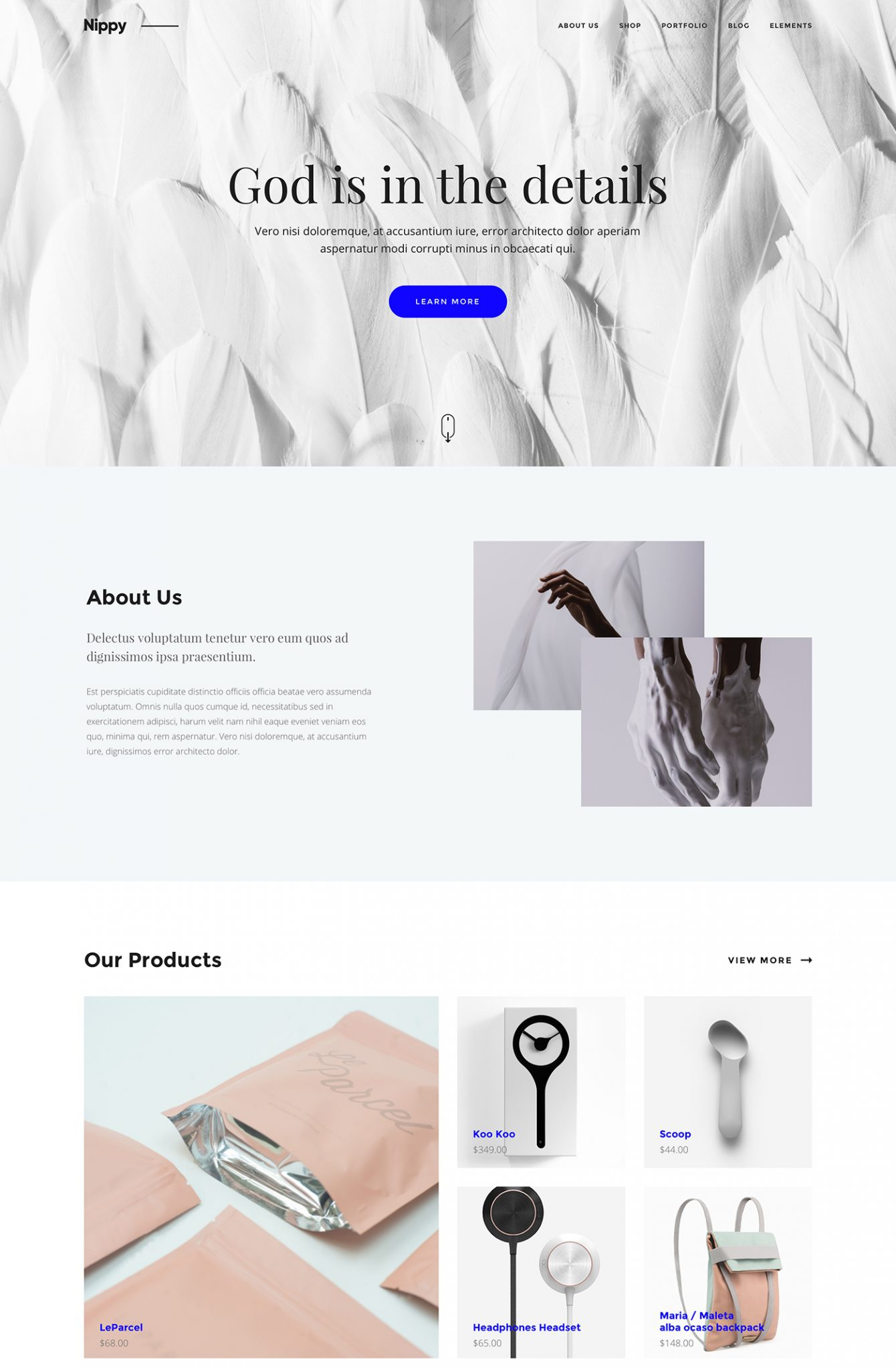 Nippy Free Landing Page - Vector webpage for creatives