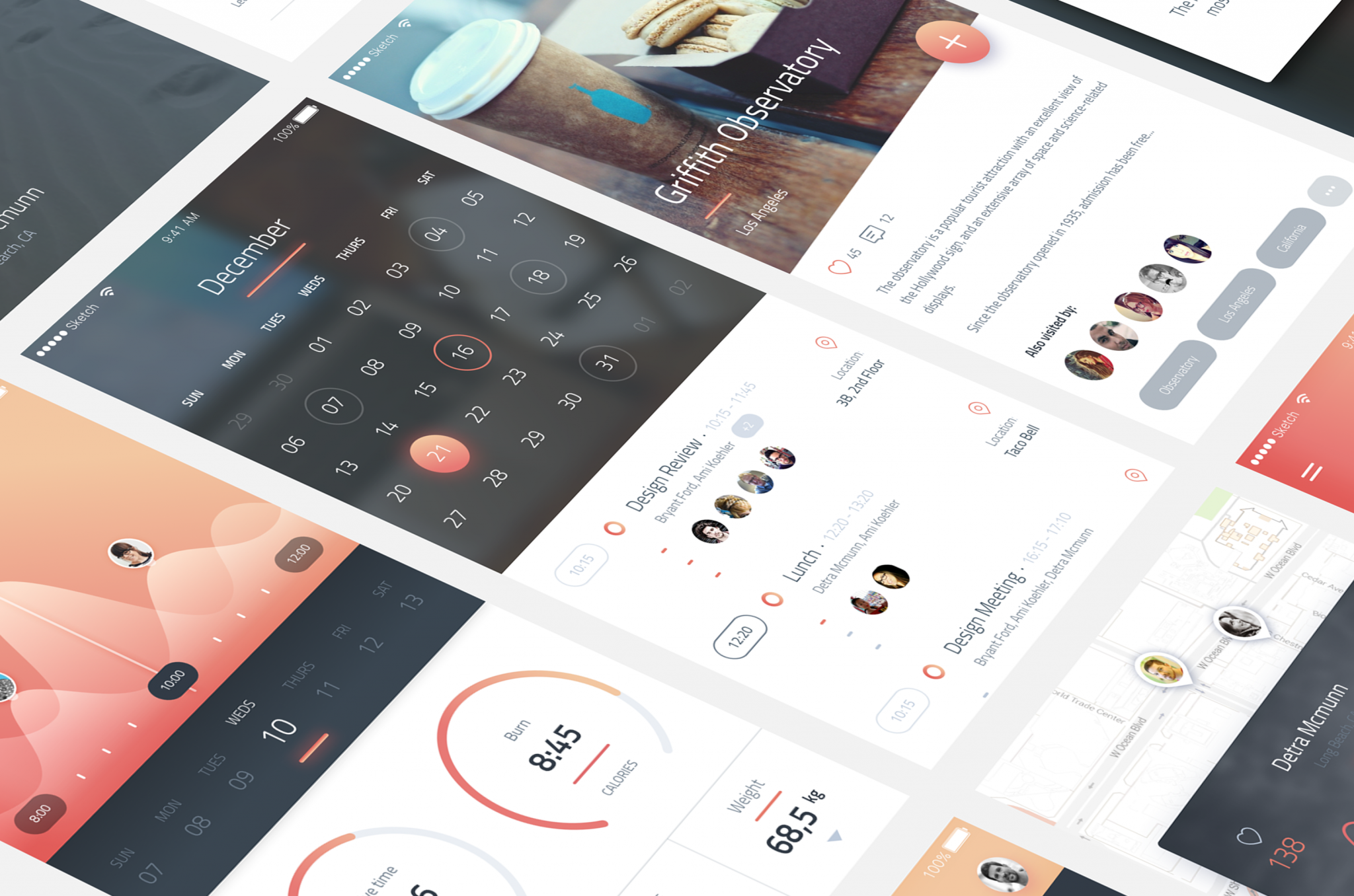Phoenix vol 1 Free PSD & Sketch App design