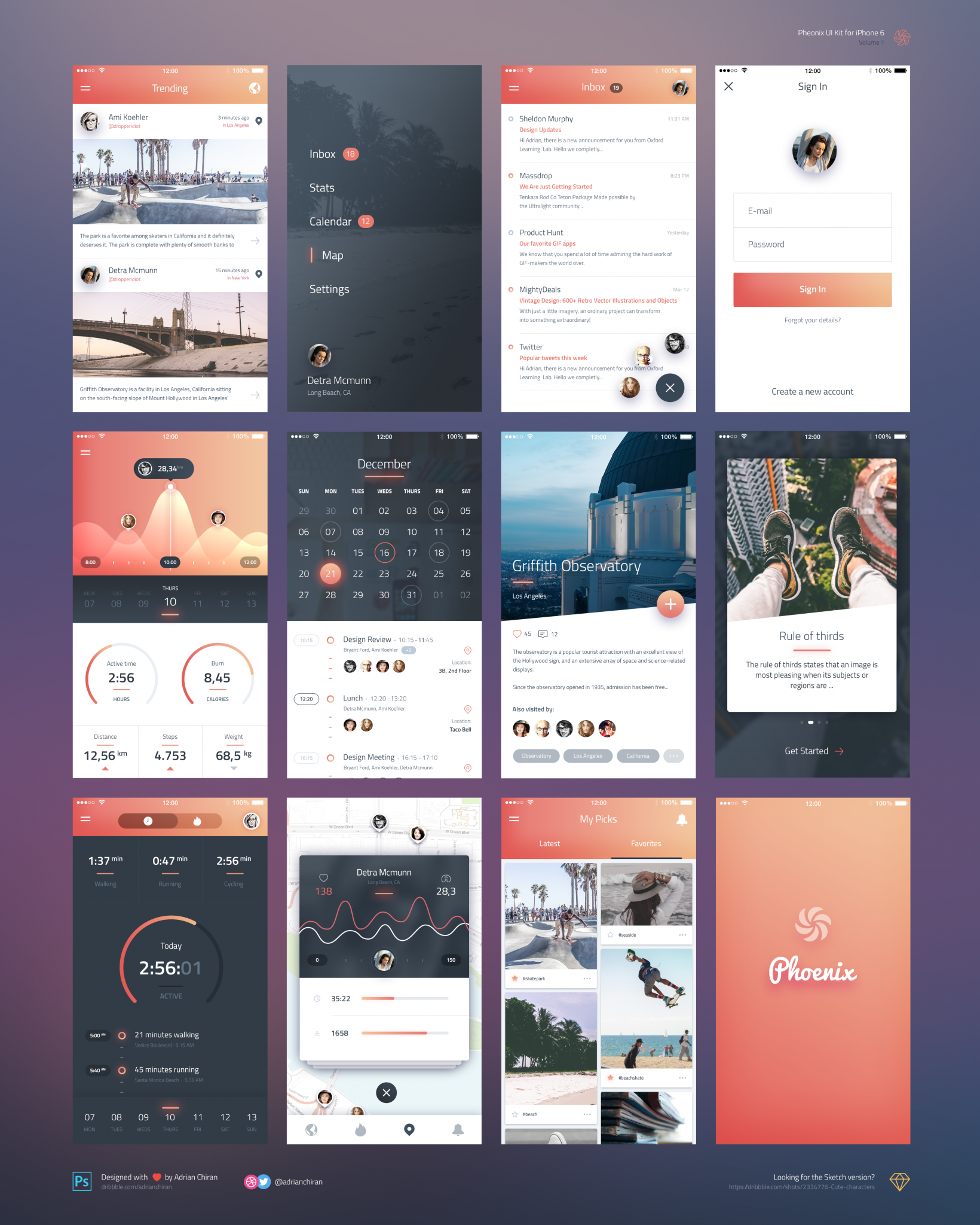 Phoenix App Design UI Kit for Sketch Free Download