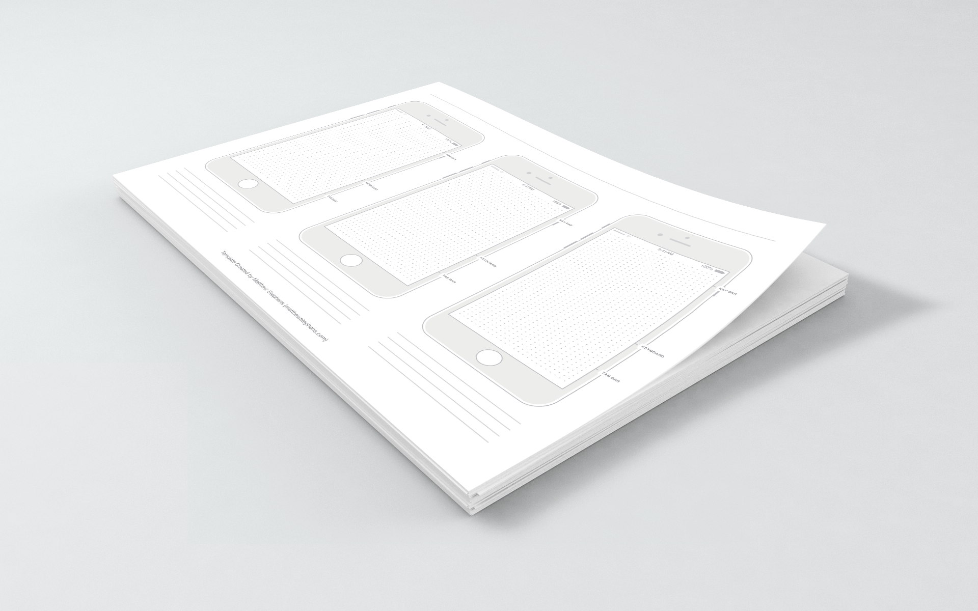 Free iPhone 7 Template for iOS 10 in PDF for UI Designers