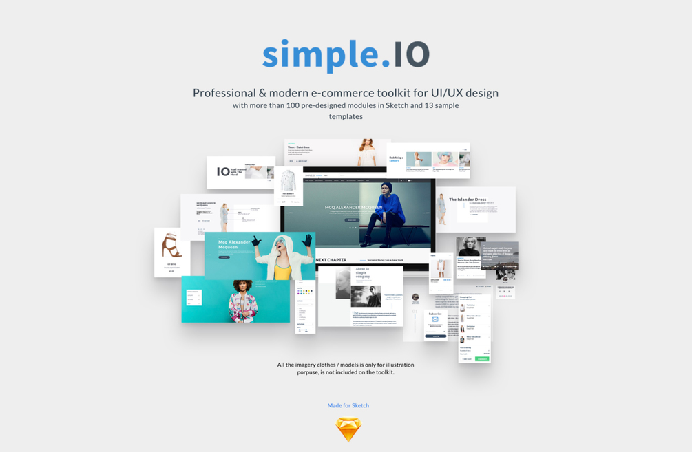Simple.IO Web E-Commerce UI Kit - Professional & Modern Web Design for Sketch