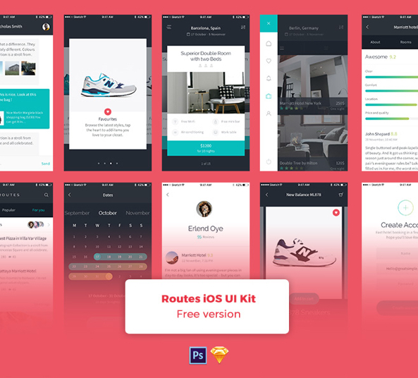 Routes iOS App Design UI Kit for Sketch and PSD - FreebiesUI