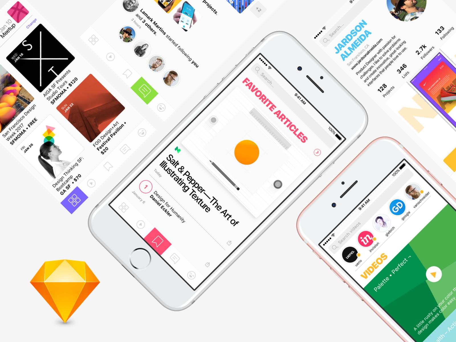 Social Network App Design Concept - 5 Free Screens for Sketch community