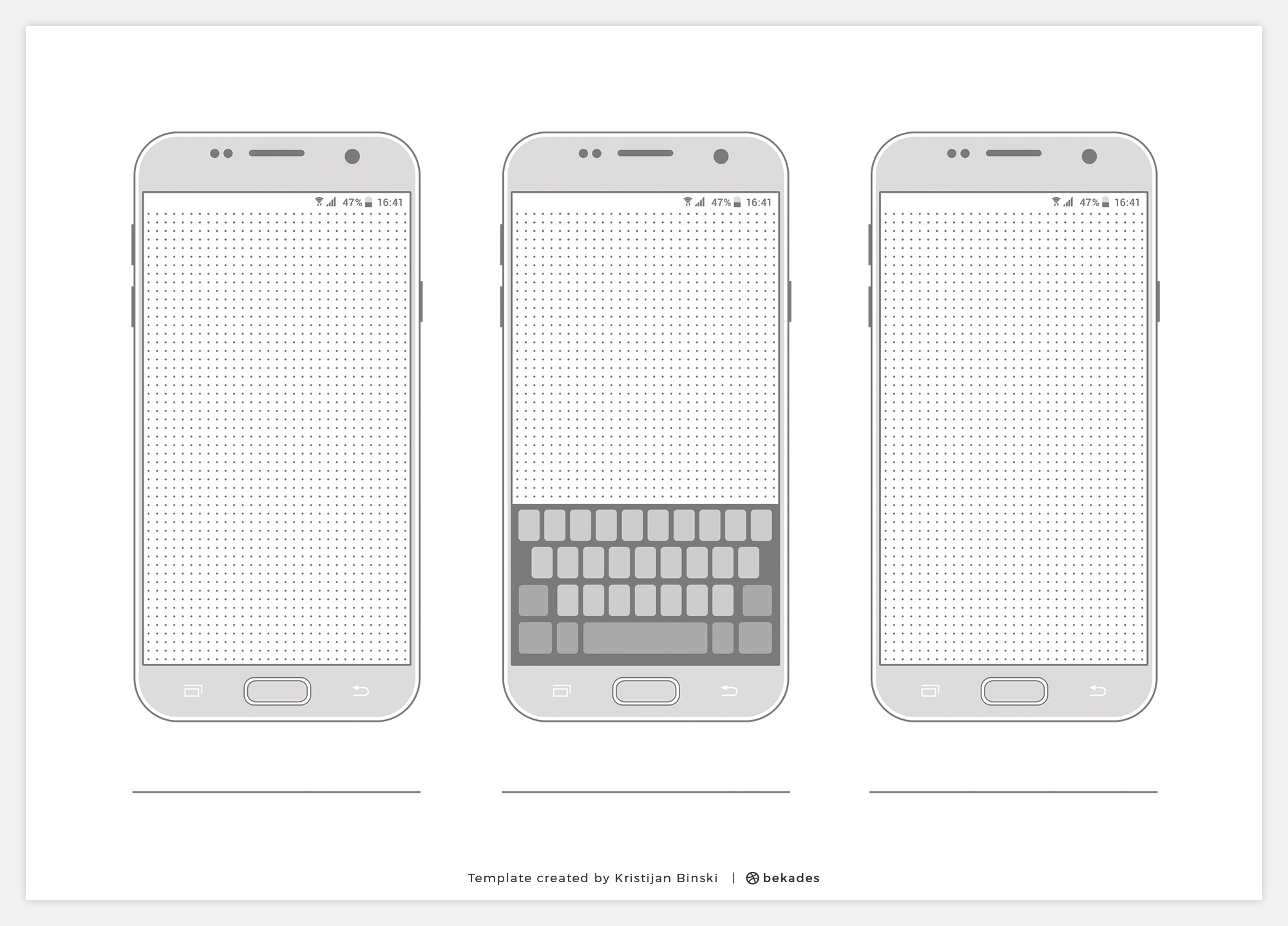 Samsung S7 Printable Wireframe Template with Keyboard for PSD and PNG