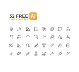 32 Free Line Icons Set for AI Designers