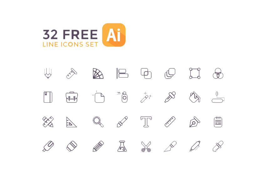 32 Free Line Icons Set for AI - Download Link - UX/UI Resource