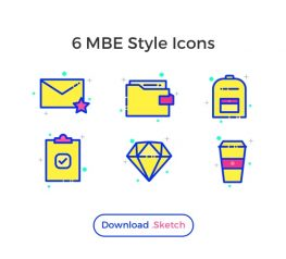 6 MBE Style Icons for Sketch Designers - Free Download link