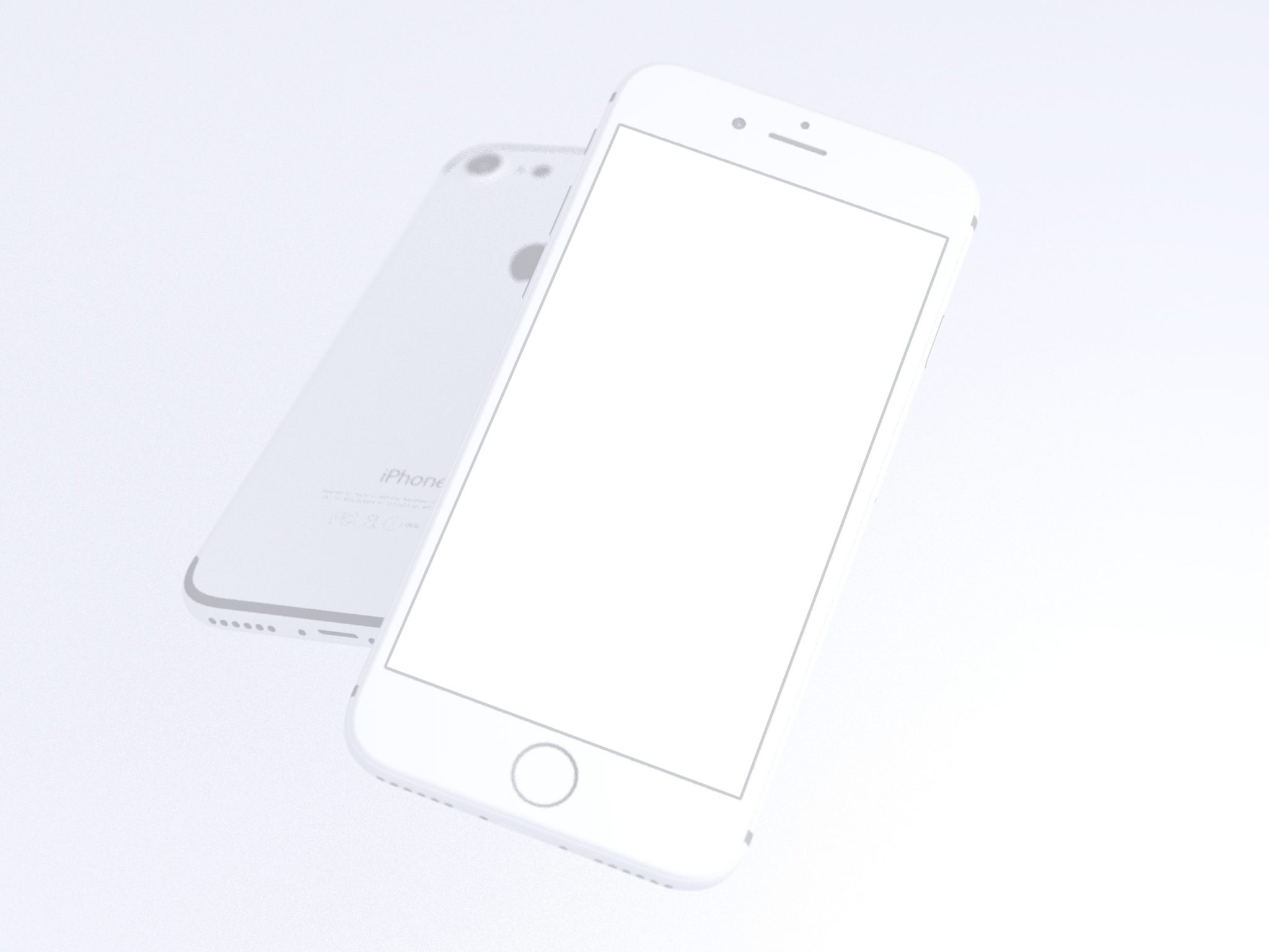 clay-look iPhone 7 mockups for PSD - White Device Perspective