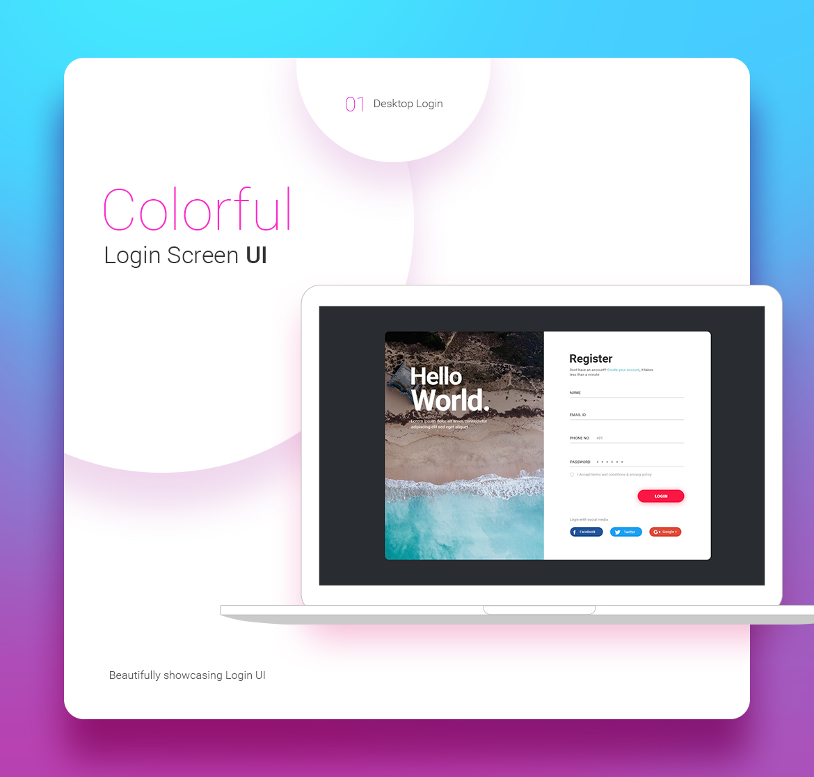 Free Login Screens UI Kit for Photoshop - Colorful Desktop View