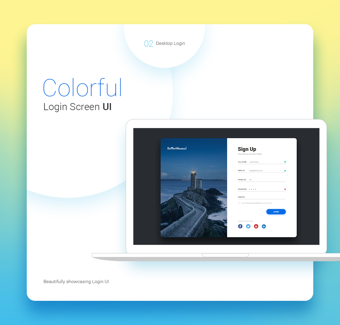Free Login Screen UI Kit for Photoshop - Sign up form Resource