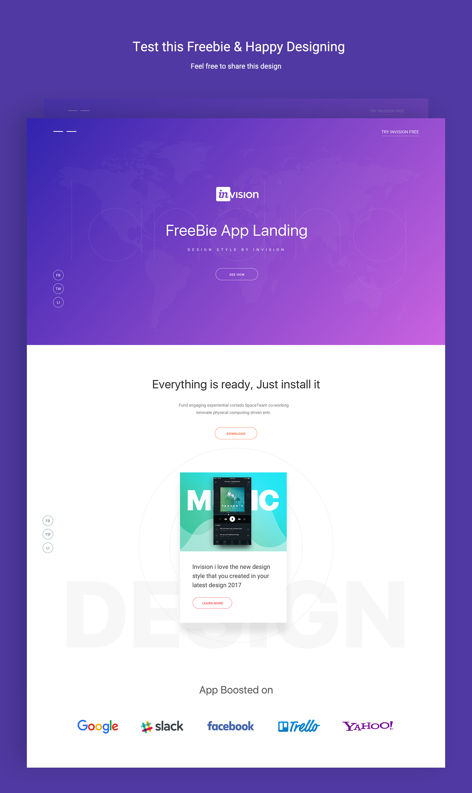 App Landing Invision Style Free Web Template For Sketch