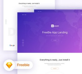 App Landing Page Invision Style for Sketch - Free Download Resource