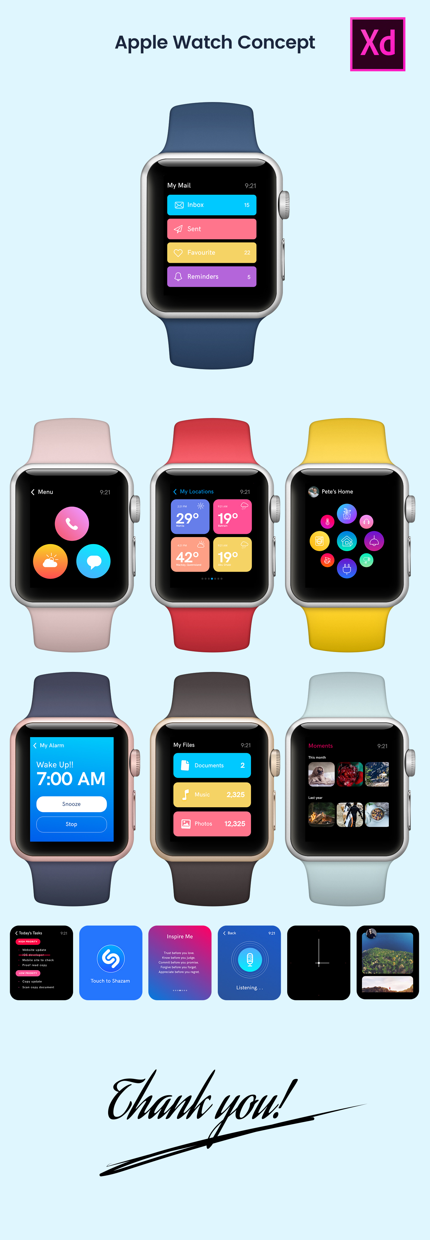 Apple Watch Design Concept Freebie for Adobe Xd - Free Download