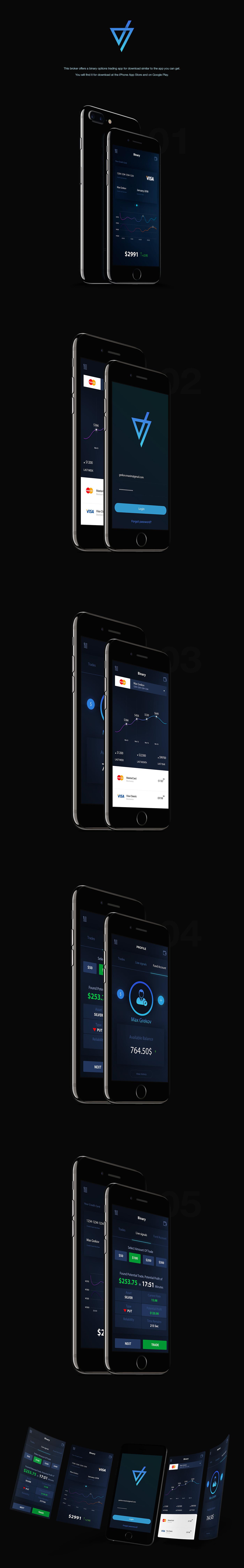 Binary Trade App Design UI Kit - Freebie for PSD Designers - Download Link
