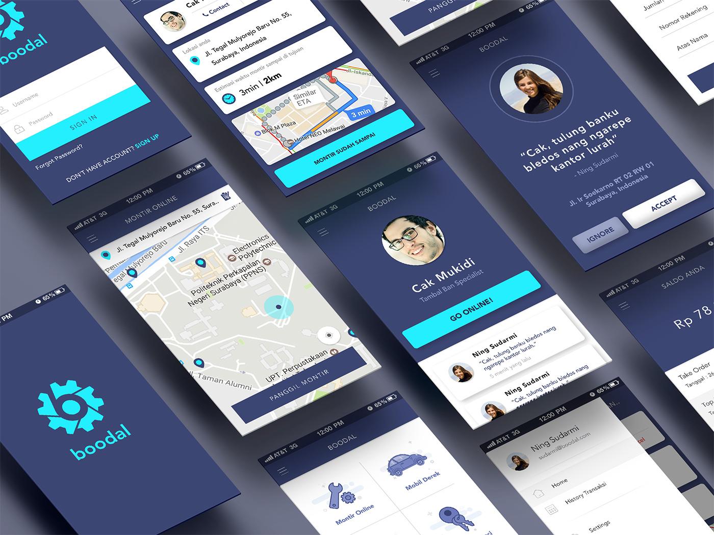 Bloodal App Design UI Kit for PSD Designer - vehicle assisstant