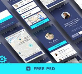 Bloodal App Design UI Kit for PSD - 12 Free Screens for Photoshop Designers