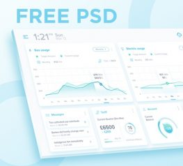 Dashboard Free UI Kit for Photoshop with Soft Colors - Modern Presentation