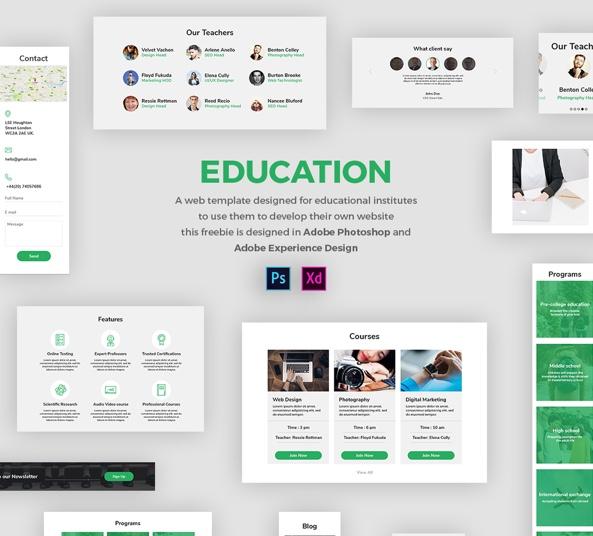 Education Web Template - Free UI Kit in PSD and Adobe Xd - FreebiesUI