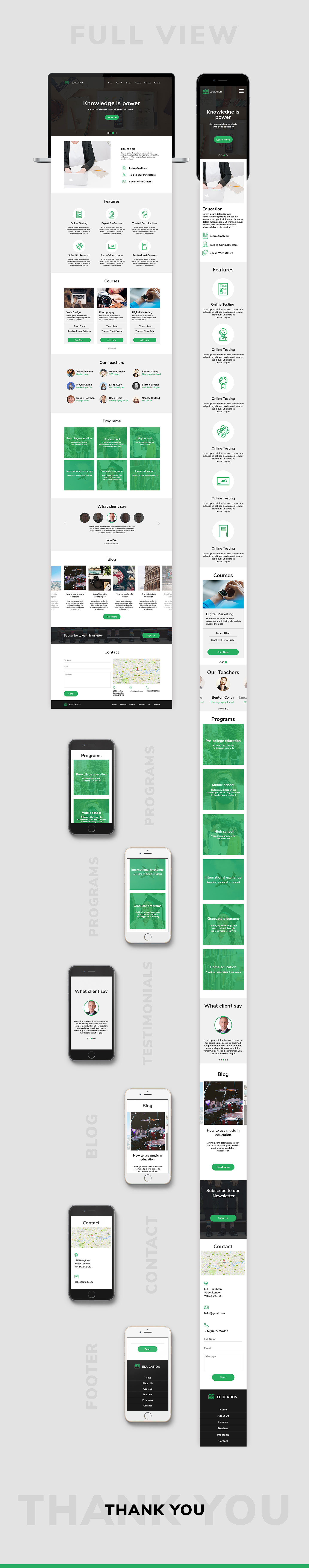 Education Web Template for Adobe Xd and Photoshop - Free Download Resource - Green UI Kit